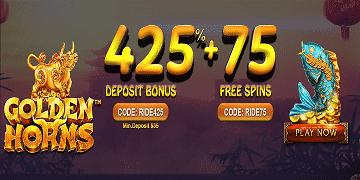 Golden Horns: 425% + 75FS from Bobby Casino